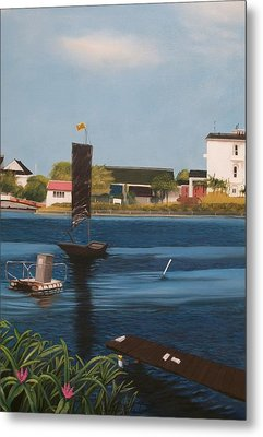 Metal Print featuring the painting Home Town by Susan Roberts
