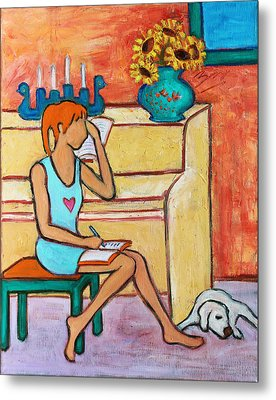 Metal Print featuring the painting Home Where My Heart Is Iv by Xueling Zou