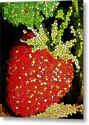 Homegrown Strawberry Mosaic Metal Print