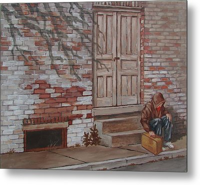 Metal Print featuring the painting Homeless by Tony Caviston
