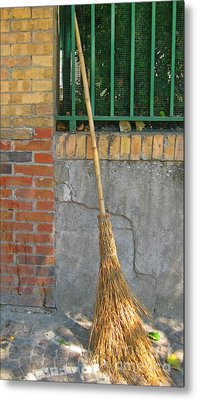 Homemade Straw Broom Metal Print