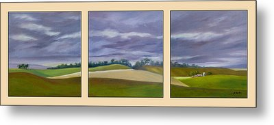 Metal Print featuring the painting Homeward Bound - Triptych by Jo Appleby