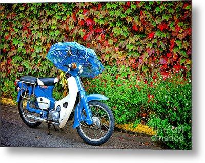 Honda With Umbrella Metal Print by Olivier Le Queinec