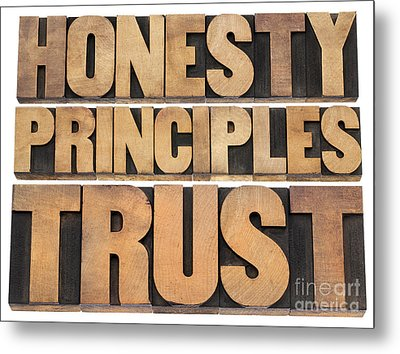 Metal Print featuring the photograph Honesty Principles And Trust by Marek Uliasz