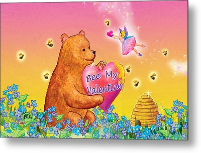 Honey Bear And Fairy Valentine Metal Print by Teresa Ascone