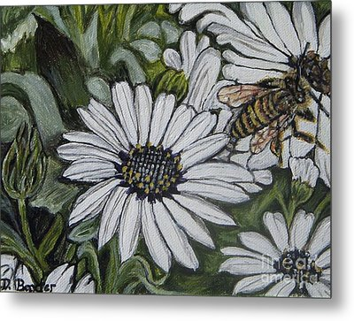 Metal Print featuring the painting Honeybee Taking The Time To Stop And Enjoy The Daisies by Kimberlee Baxter