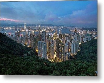 Hong Kong From Sky Terrace 428 At Victoria Peak Metal Print