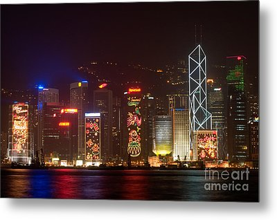 Hong Kong Holiday Skyline Metal Print by Ei Katsumata