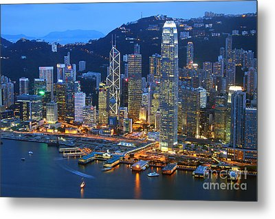Hong Kong Skyline At Night Metal Print by Lars Ruecker