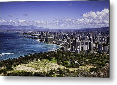 Honolulu From Diamond Head Metal Print by Joanna Madloch