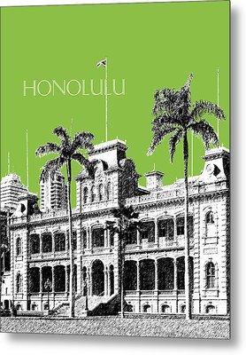 Honolulu Skyline Iolani Palace - Olive Metal Print by DB Artist