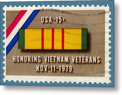 Honoring Vietnam Veterans Service Medal Postage Stamp Metal Print by Phil Cardamone