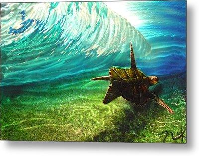 Honu Surf 2 Metal Print by Nick Knezic