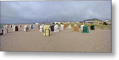 Hooded Beach Chairs On The Beach Metal Print by Panoramic Images