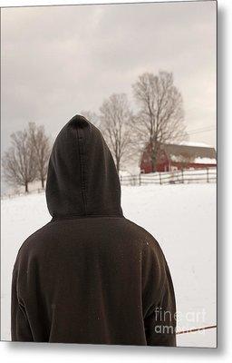 Hooded Boy At Farm In Winter Metal Print by Edward Fielding