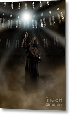 Hooded Man Holding Glowing Wizard Staff  Metal Print by Jaroslaw Blaminsky