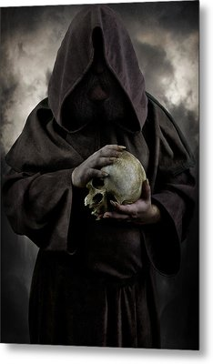 Hooded Moustached Man Wearing Dark Cloak And Holding A Human Skull In His Hands Metal Print