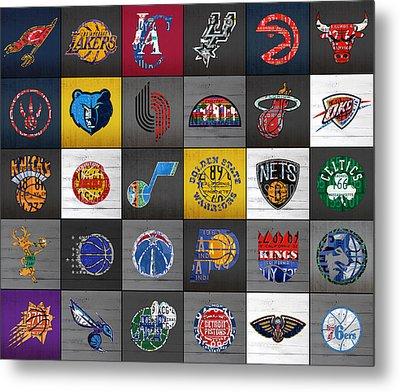 Hoop It Up Recycled Vintage Basketball League Team Logos License Plate Art Metal Print by Design Turnpike