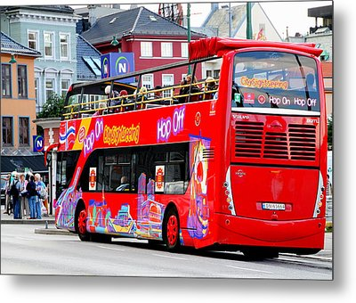 Hop On And Hop Off Bus In Bergen Metal Print by Laurel Talabere