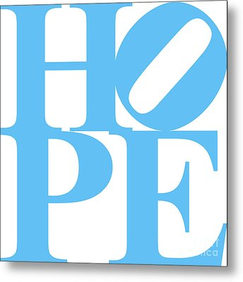 Hope 20130710 Blue White Metal Print by Wingsdomain Art and Photography