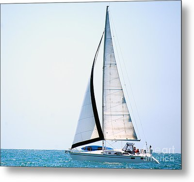 Hope Floats Sailboat From The Book My Ocean Metal Print by Artist and Photographer Laura Wrede