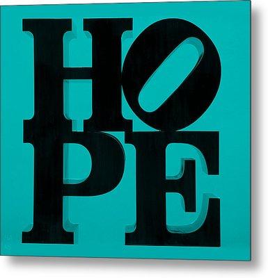 Hope In Light Blue Metal Print