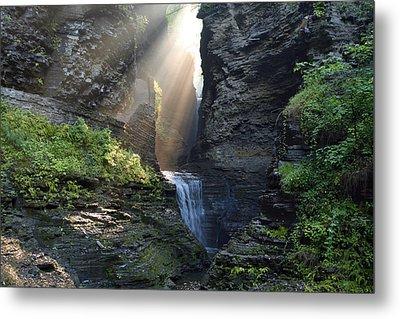 Metal Print featuring the photograph Hopeful Rays Spotlight Minnehaha Falls by Gene Walls