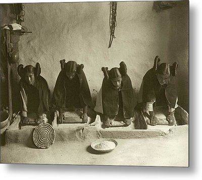 Hopi Women Grinding Grain Metal Print by Library Of Congress