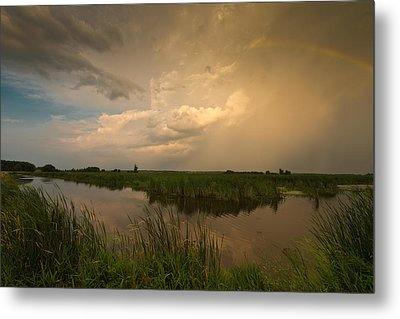 Horicon Marsh Storm Metal Print by Steve Gadomski