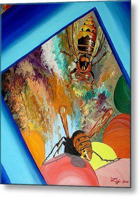Metal Print featuring the painting Hornets by Daniel Janda