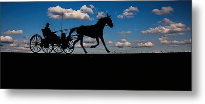 Horse And Buggy Mennonite Metal Print