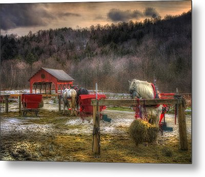 Horse And Carriage Ride - Stowe Vermont Metal Print by Joann Vitali
