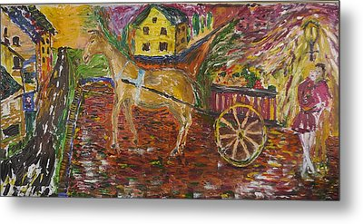 Horse And Cart Metal Print by Dozel Lake