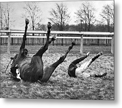 Horse And Rider Fall Alike Metal Print by Underwood Archives