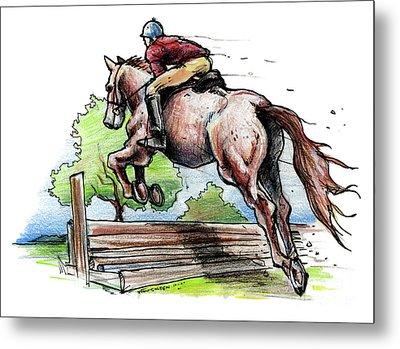 Horse And Rider Metal Print by John Ashton Golden