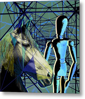 Horse And Rider Metal Print by Maria Jesus Hernandez