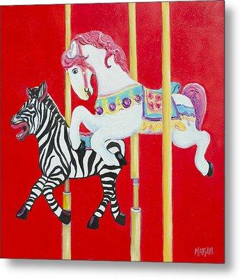 Horse And Zebra Carousel Metal Print