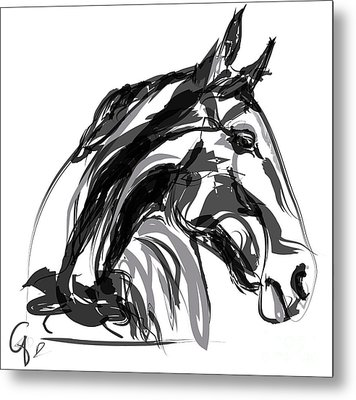Horse- Apple -digi - Black And White Metal Print by Go Van Kampen