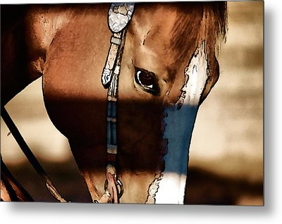 Metal Print featuring the photograph Horse At Work by Pamela Blizzard