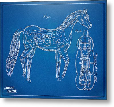 Horse Automatic Toy Patent Artwork 1867 Metal Print by Nikki Marie Smith