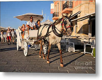 Horse Carriage At The Old Port Of Chania Metal Print by George Atsametakis