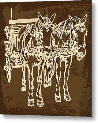 Horse Carriage - Stylised Pop Modern Etching Art Portrait - 1 Metal Print