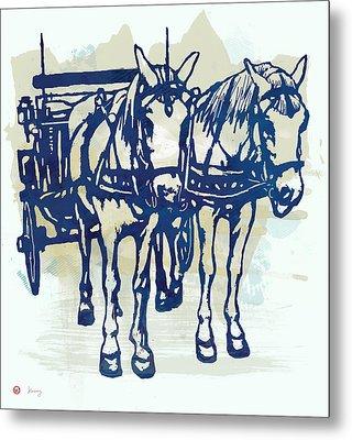 Horse Carriage - Stylised Pop Modern Etching Art Portrait Metal Print by Kim Wang