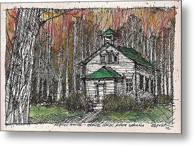 Metal Print featuring the mixed media Horse Cove School by Tim Oliver
