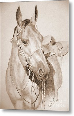 Metal Print featuring the drawing Horse Drawing by Eleonora Perlic