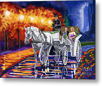 Horse Drawn Carriage Night Metal Print by Tim Gilliland