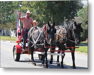 Horse Drawn Cart Metal Print by Carolyn Ricks