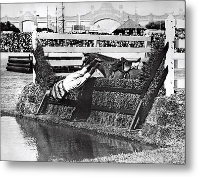 Horse Dumps Rider In Pond Metal Print by Underwood Archives