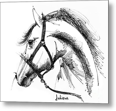 Horse Face Ink Sketch Drawing Metal Print by Daliana Pacuraru
