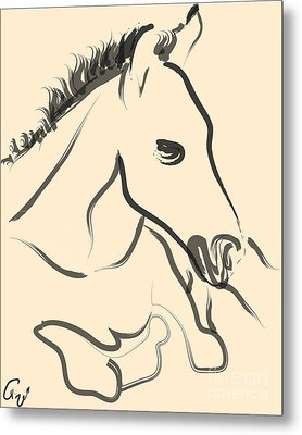 Horse-foal-pure Metal Print by Go Van Kampen